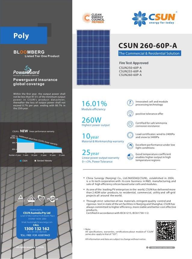 Csun Tier 1 Solar Modules Datasheet