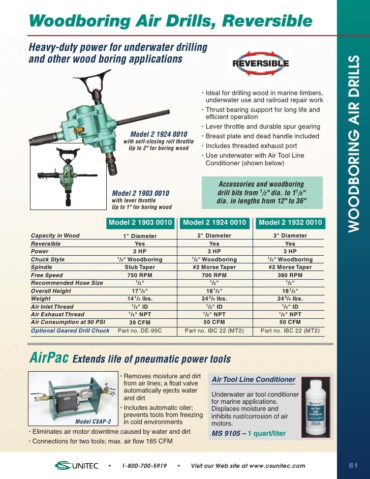 Woodboring Air Drills, ReversibleHeavy-duty power for underwater drillingand other wood boring applications               ...