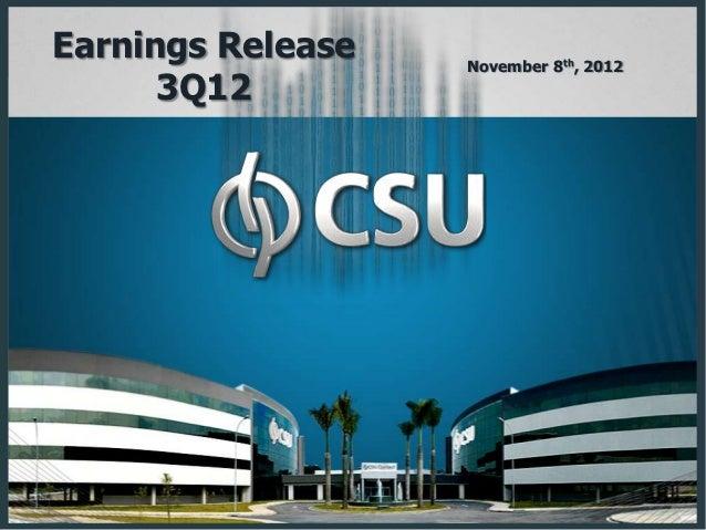 Earnings Release   November 8th, 2012      3Q12