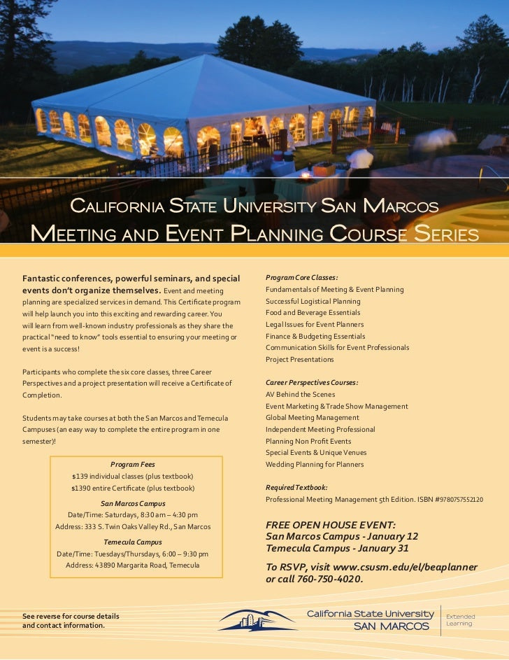 Csusm Meeting Amp Event Planning Certificate Program 2012