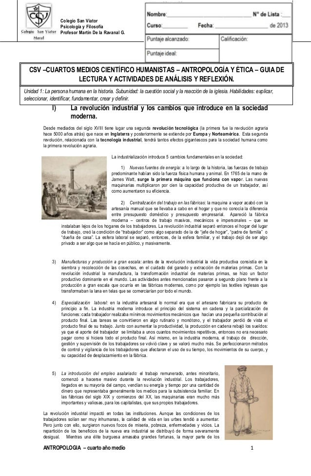 Colegio San Viator Psicología y Filosofía Profesor Martín De la Ravanal G. ANTROPOLOGIA – cuarto año medio 1 I) La revoluc...