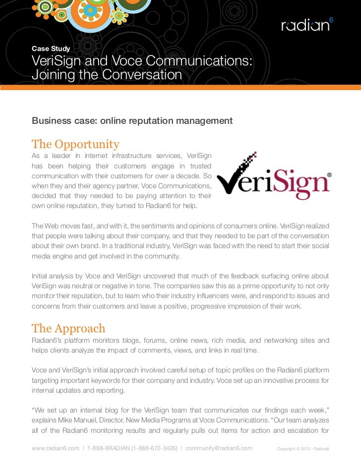 Case Study  VeriSign and Voce Communications: Joining the Conversation   Business case: online reputation management  The ...