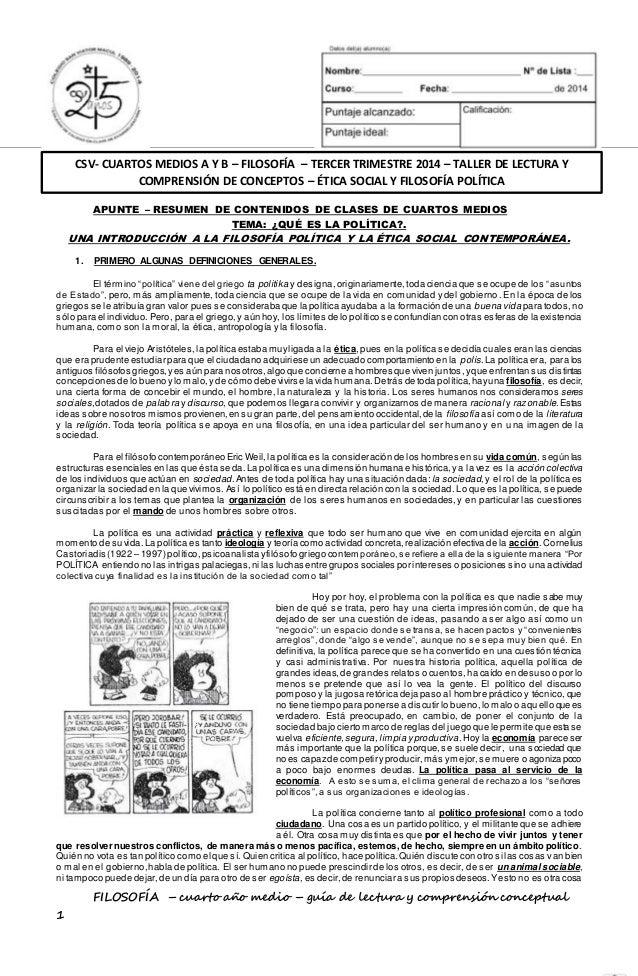 CSV- CUARTOS MEDIOS A Y B – FILOSOFÍA – TERCER TRIMESTRE 2014 – TALLER DE LECTURA Y  COMPRENSIÓN DE CONCEPTOS – ÉTICA SOCI...