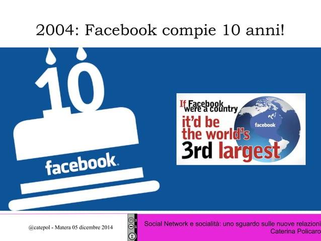 2004: Facebook compie 10 anni!  Social Network e socialità: uno sguardo sulle nuove relazioni  Caterina Policaro @catepol ...