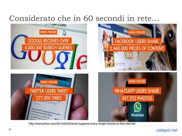 Considerato che in 60 secondi in rete…  http://memolition.com/2014/05/02/what-happens-every-single-minute-on-the-internet/...