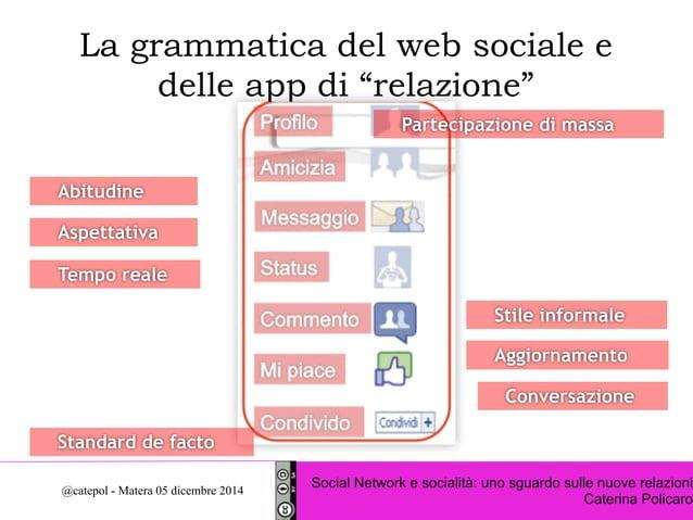 """La grammatica del web sociale e  delle app di """"relazione""""  Partecipazione di massa  Stile informale  Aggiornamento  Conver..."""