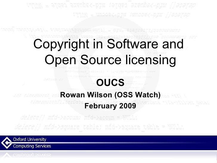 Copyright In Software And Open Source Licensing