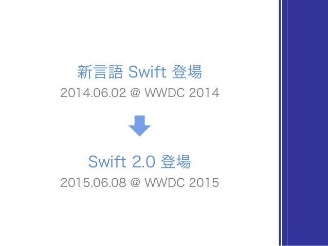 新言語 Swift 登場 2014.06.02 @ WWDC 2014 Swift 2.0 登場 2015.06.08 @ WWDC 2015