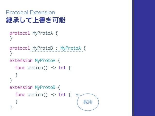 継承して上書き可能 Protocol Extension protocol MyProtoA { } protocol MyProtoB : MyProtoA { } extension MyProtoA { func action() -> ...