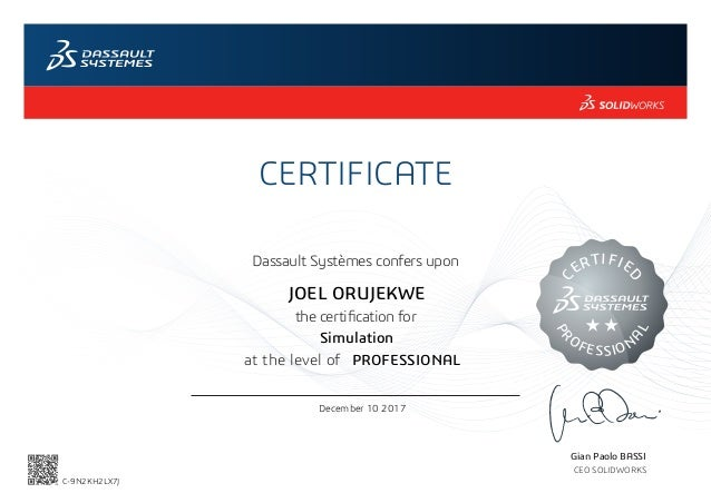 Certified Solidworks Professional Simulation Cswp S