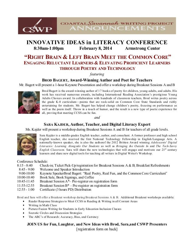 """INNOVATIVE IDEAS in LITERACY CONFERENCE 8:30am-1:00pm February 8, 2014 Armstrong Center """"RIGHT BRAIN & LEFT BRAIN MEET THE..."""