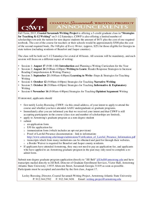 """Fall Term, 2013, Coastal Savannah Writing Project is offering a 3-credit graduate class in """"Strategies for Teaching K-12 W..."""