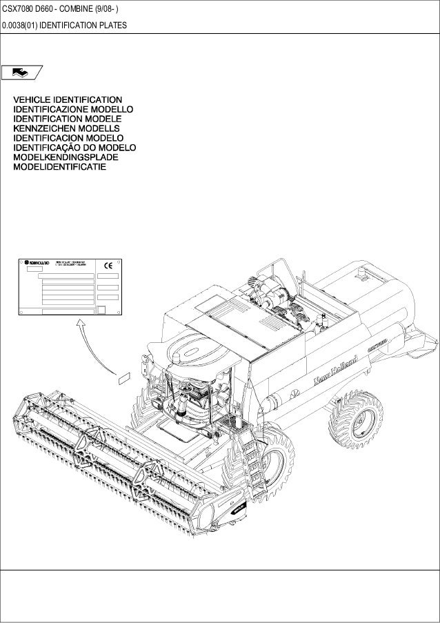 New Holland Csx 7080 D660 Combine Parts Catalog