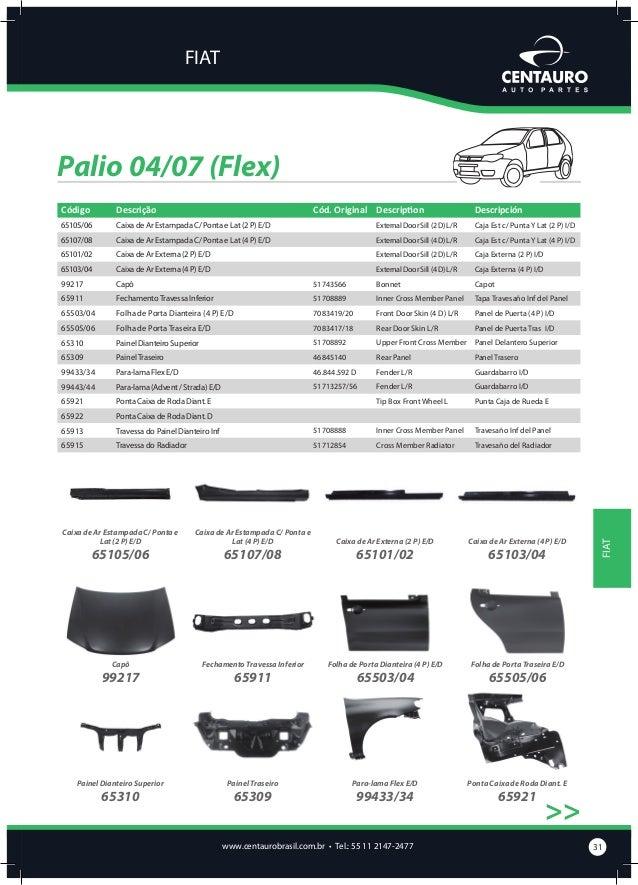 FIAT  Palio 04/07 (Flex) >>  Ponta Caixa de Roda Diant. D  65922  Para-lama (Advent / Strada) E/D  99443/44  Travessa do P...