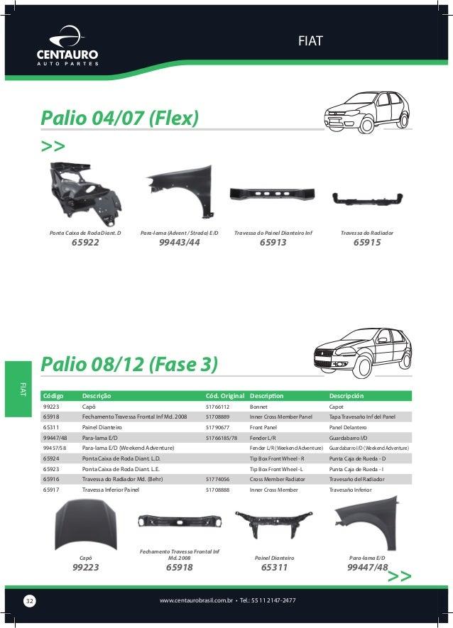 FIAT  Palio 08/12 (Fase 3) >>  Para-lama E/D (Weekend Adventure)  99457/58  Ponta Caixa de Roda Diant. L.D.  65924  Ponta ...
