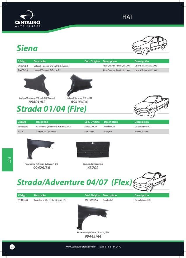 FIAT  Tipo Código  Descrição  Cód. Original Description  Descripción  68201  Capô  7794205  Bonnet  Capot  68403/04  Later...