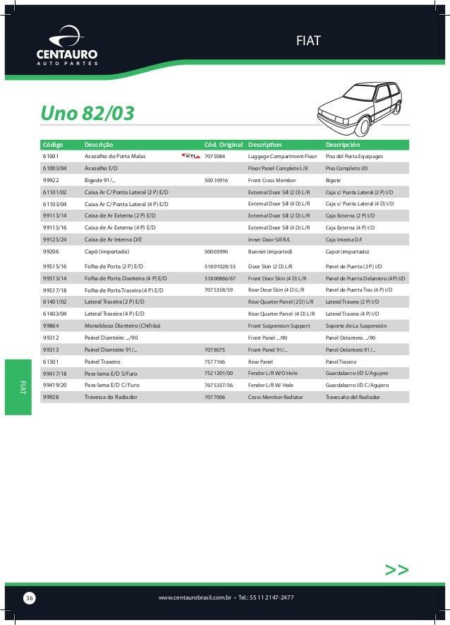 FIAT  Uno 82/03 >>  Assoalho do Porta Malas  61001  Assoalho E/D  61003/04  Bigode 91/...  Caixa Ar C/ Ponta Lateral (2 P)...