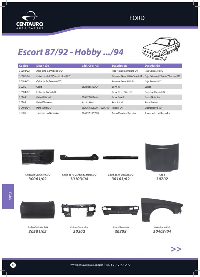 FORD  Escort 87/92 - Hobby .../94 >>  Travessa do Radiador  30902  Escort 93/95 Descrição  Cód. Original  Description  Des...