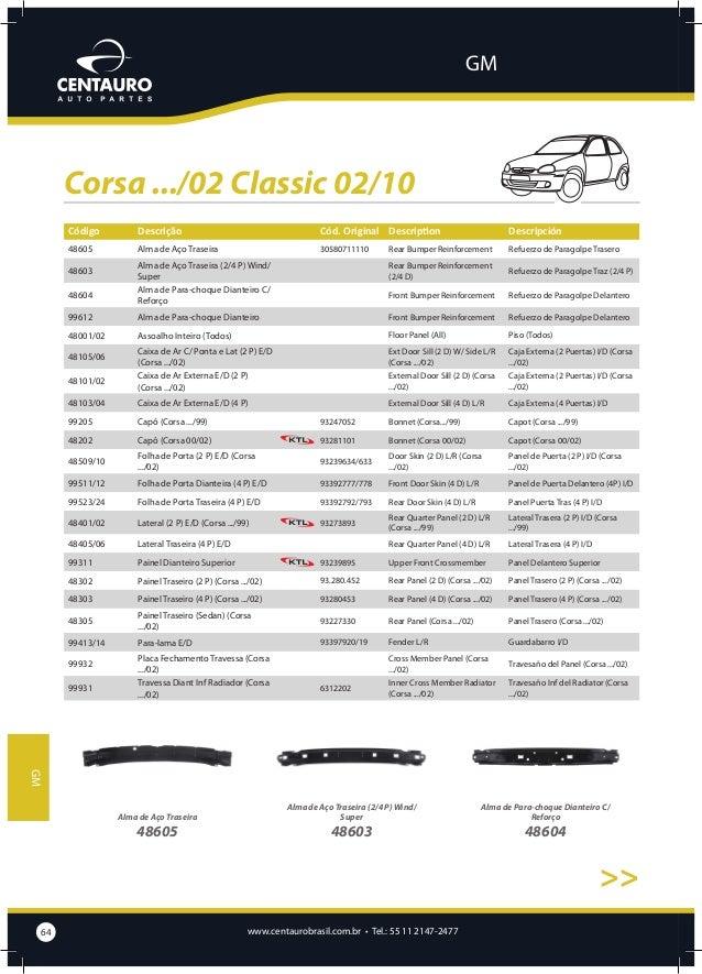 GM  Corsa .../02 Classic 02/10 >>  Alma de Para-choque Dianteiro  Assoalho Inteiro (Todos)  Caixa de Ar C/ Ponta e Lat (2 ...