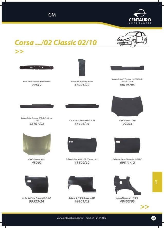 GM  Corsa .../02 Classic 02/10 >> Painel Dianteiro Superior  Painel Traseiro (2 P) (Corsa .../02)  Painel Traseiro (4 P) (...