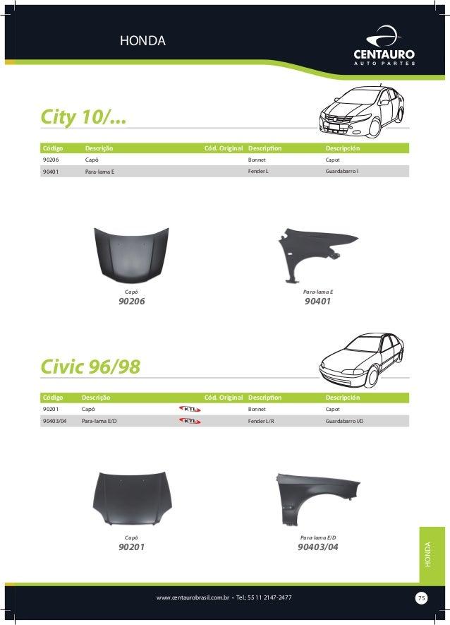 HONDA  Civic 99/00 Código  Descrição  Cód. Original Description  90202  Capô  Bonnet  Capot  90405/06  Para-lama E/D  Fend...