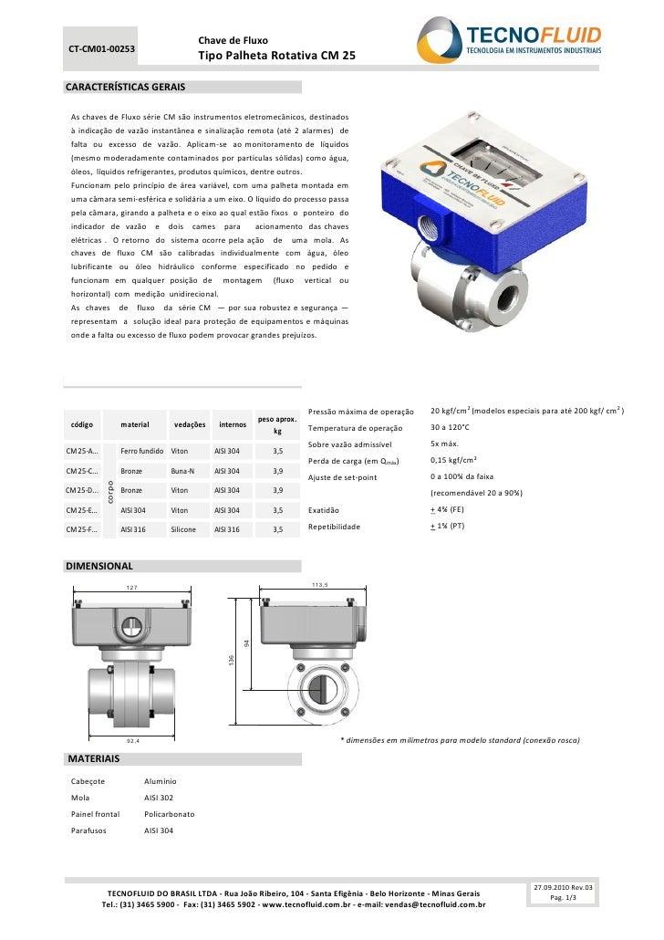 Chave de FluxoCT-CM01-00253                                                 Tipo Palheta Rotativa CM 25CARACTERÍSTICAS GER...