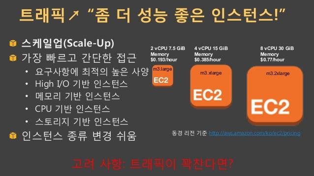 """트래픽↗ """"좀 더 성능 좋은 인스턴스!"""" !  스케일업(Scale-Up) !  가장 빠르고 간단한 접근 • 요구사항에 최적의 높은 사양 • High I/O 기반 인스턴스 • 메모리 기반 인스턴스 • CPU 기..."""