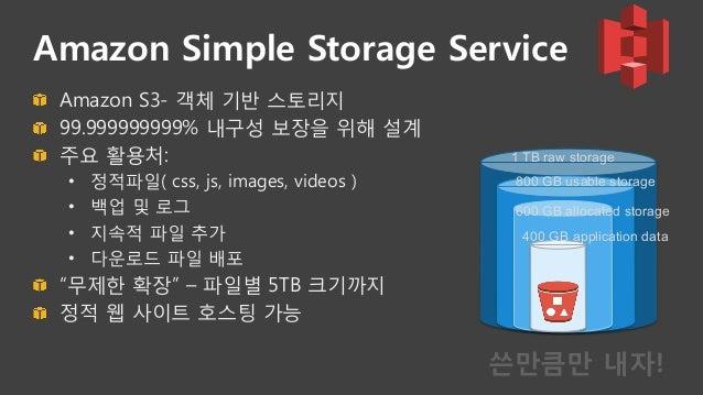 Amazon CloudFront  • 정적/동적 컨텐츠 가속 • HTTP/HTTPS 서비스 • 맞춤 오류 응답 • 쿠키/헤더 오리진 서버 전달 • 다양한 통계 보고서 • 컨텐츠 보안 • Signed URL,...