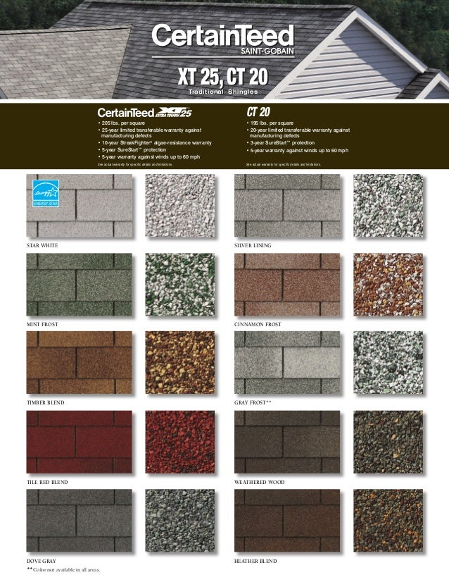 XT 25,CT 20Traditional Shingles XT 25,CT 20Traditional Shingles MINT FROST CINNAMON FROST TILE RED BLEND TIMBER BLEND SILV...