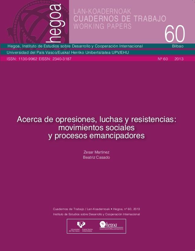 hegoa  Instituto de Estudios sobre Desarrollo y Cooperación Internacional Cuadernos de Trabajo / Lan-Koadernoak • Hegoa, n...