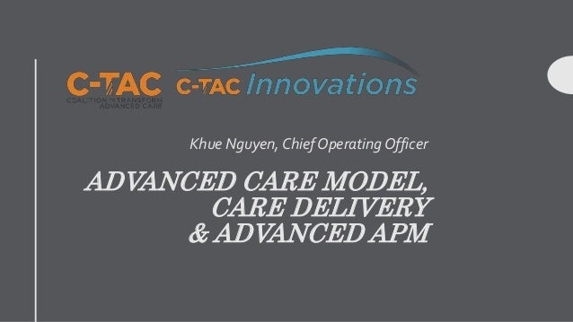 ADVANCED CARE MODEL, CARE DELIVERY & ADVANCED APM Khue Nguyen, Chief Operating Officer