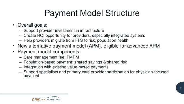 12 Payment Model Structure • Overall goals: – Support provider investment in infrastructure – Create ROI opportunity for p...