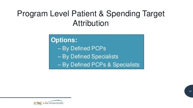 15 Program Level Patient & Spending Target Attribution Options: – By Defined PCPs – By Defined Specialists – By Defined PC...