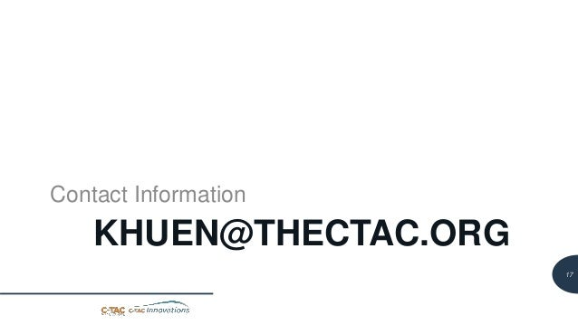 18 KHUEN@THECTAC.ORG Contact Information 17