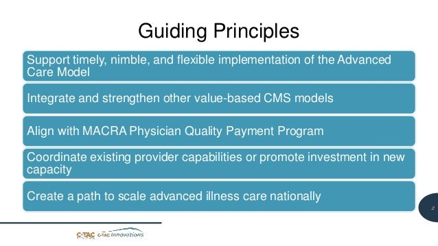 2 Guiding Principles Support timely, nimble, and flexible implementation of the Advanced Care Model Integrate and strength...