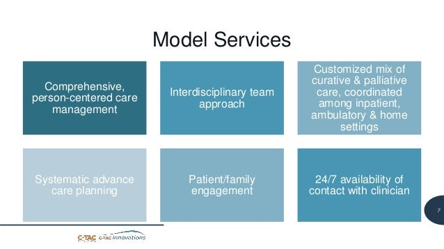 8 Model Services Comprehensive, person-centered care management Interdisciplinary team approach Customized mix of curative...