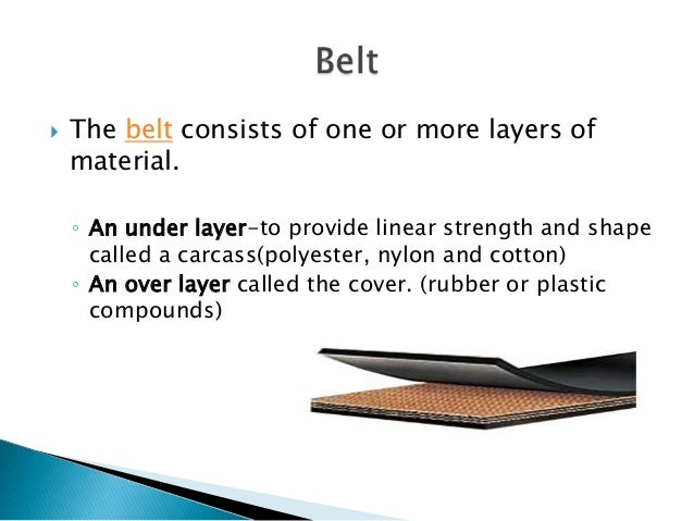 Belts are typically made from cotton, canvas, Kevlar, nitrile, nylon, polyester, polyurethane/urethane, PVC, rubber, sil...