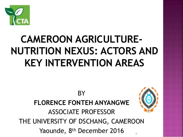 CAMEROON AGRICULTURE- NUTRITION NEXUS: ACTORS AND KEY INTERVENTION AREAS BY FLORENCE FONTEH ANYANGWE ASSOCIATE PROFESSOR T...