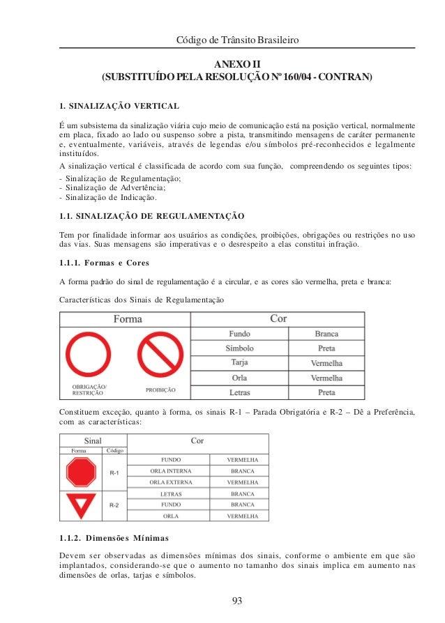 93 Código de Trânsito Brasileiro ANEXOII (SUBSTITUÍDOPELARESOLUÇÃONº160/04-CONTRAN) 1. SINALIZAÇÃO VERTICAL É um subsistem...