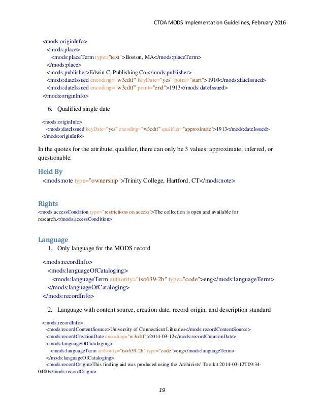 CTDA MODS Implementation Guidelines