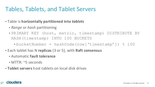 © Cloudera, Inc. All rights reserved. 17 Tables, Tablets, and Tablet Servers • Table is horizontally partitioned into tabl...