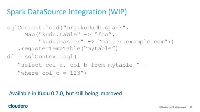 """© Cloudera, Inc. All rights reserved. 27 Spark DataSource Integration (WIP) sqlContext.load(""""org.kududb.spark"""", Map(""""kudu...."""