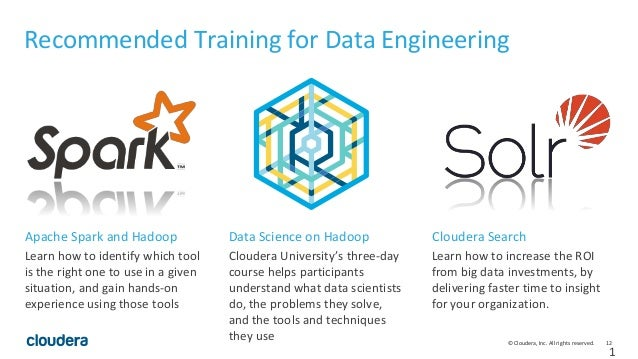 12© Cloudera, Inc. All rights reserved. 1 Recommended Training for Data Engineering Learn how to identify which tool is th...