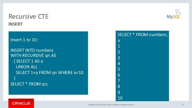MySQL 8 0: Common Table Expressions