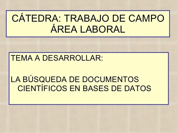 CÁTEDRA: TRABAJO DE CAMPO ÁREA LABORAL <ul><li>TEMA A DESARROLLAR: </li></ul><ul><li>LA BÚSQUEDA DE DOCUMENTOS CIENTÍFICOS...