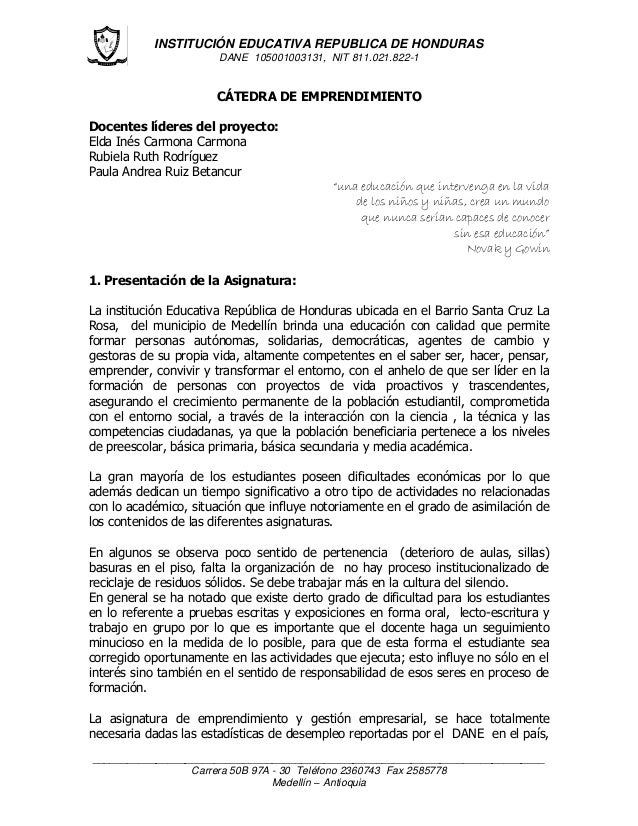 INSTITUCIÓN EDUCATIVA REPUBLICA DE HONDURAS DANE 105001003131, NIT 811.021.822-1 _________________________________________...