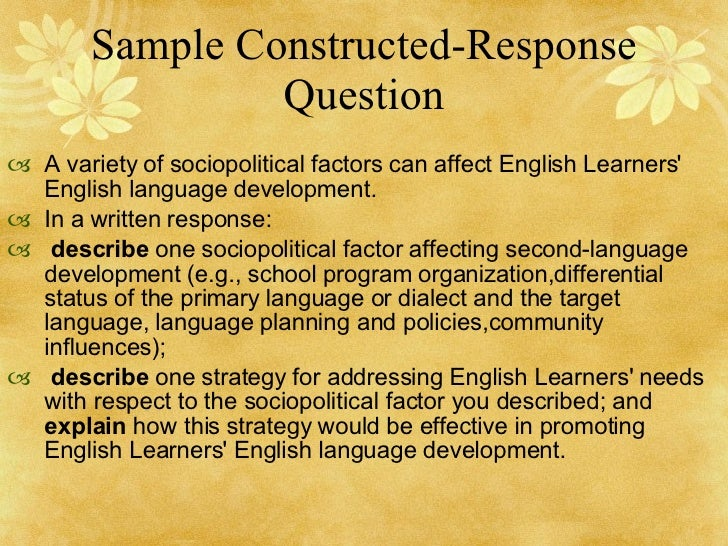 constructed response essay questions The simplest forms of constructed response questions are find two standards that could be assessed with essay questions write one short response essay and.