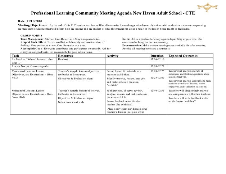 Professional Learning Community Meeting Agenda ...  Professional Agendas