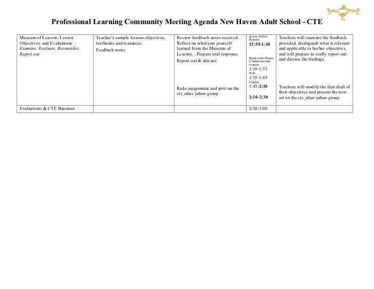 Sample PLC Training Agenda – Training Agenda Sample