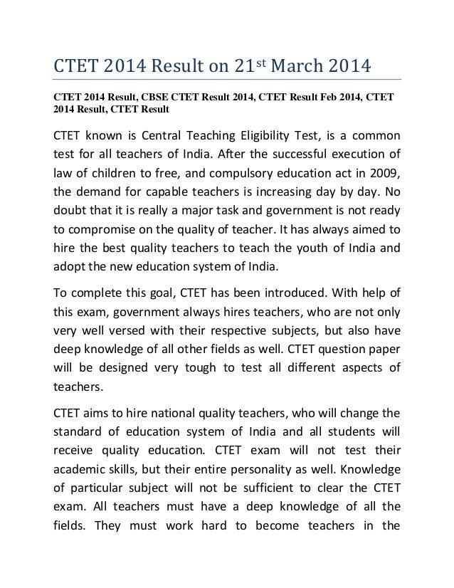 CTET 2014 Result on 21st March 2014 CTET 2014 Result, CBSE CTET Result 2014, CTET Result Feb 2014, CTET 2014 Result, CTET ...